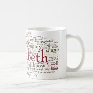 Nube de la palabra del orgullo y del perjuicio tazas de café