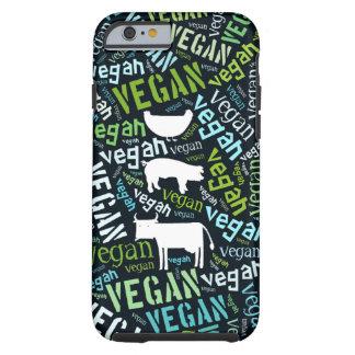 Nube de la palabra del vegano con una vaca, el funda para iPhone 6 tough