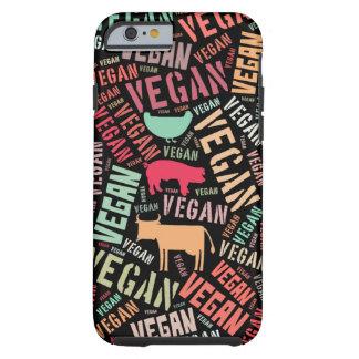 Nube de la palabra del vegano con una vaca, un funda de iPhone 6 tough