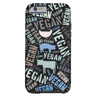 Nube de la palabra del vegano con una vaca, un funda para iPhone 6 tough