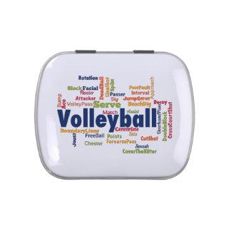Nube de la palabra del voleibol frascos de dulces