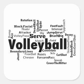Nube de la palabra del voleibol pegatina cuadrada