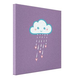 Nube de lluvia azul feliz que llueve corazones lona estirada galerías