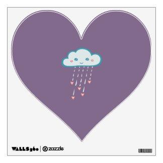 Nube de lluvia azul feliz que llueve corazones vinilo