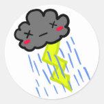 Nube de lluvia etiqueta redonda