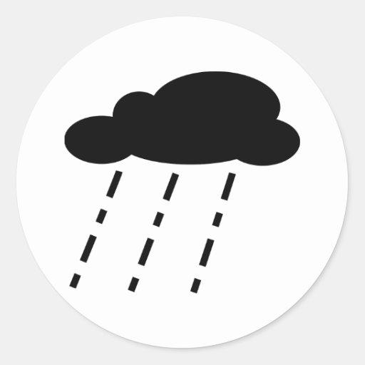 Nube de lluvia etiquetas redondas