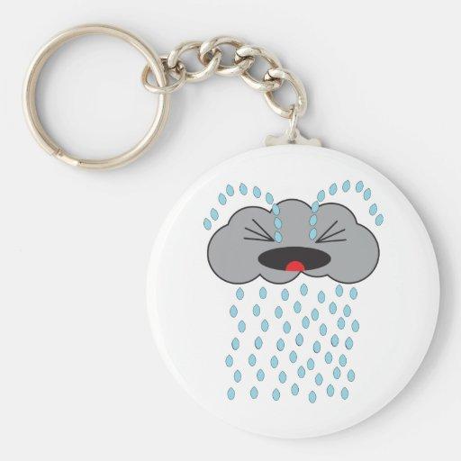 Nube de lluvia gritadora llaveros personalizados