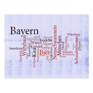 Nube de palabra word cloud Baviera Bavaria Postales
