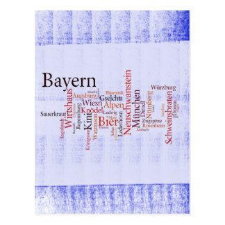 Nube de palabra word cloud Baviera Bavaria Tarjetas Postales