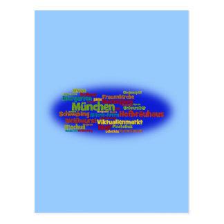 Nube de palabra word cloud Munich Muniquesas Postales