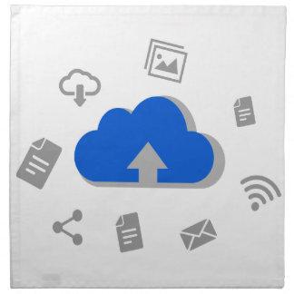 Nube de subida a internet con íconos servilletas imprimidas