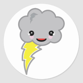 nube de tormenta del kawai pegatinas redondas
