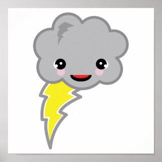 nube de tormenta del kawai póster