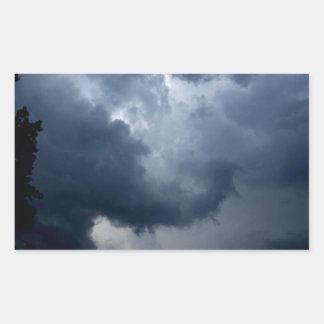 Nube de tormenta del tronco del elefante pegatina rectangular
