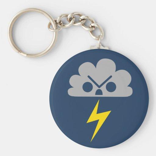 Nube de tormenta enojada linda con el rayo llaveros personalizados