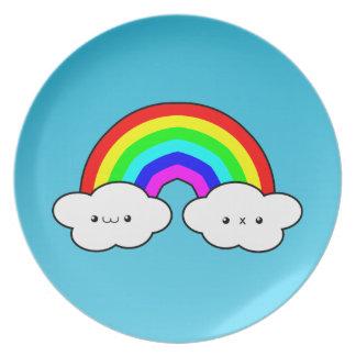 Nube del arco iris plato de cena