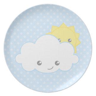 Nube dulce y Sun de Kawaii Plato Para Fiesta