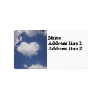 Nube en forma de corazón etiquetas de dirección