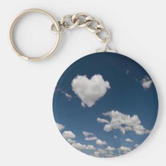 Nube en forma de corazón llavero redondo tipo pin