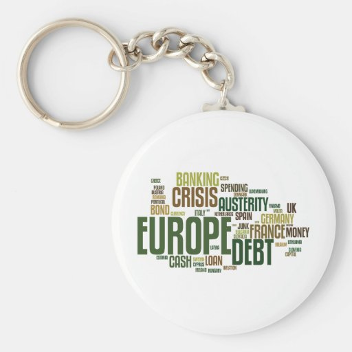 Nube europea de la palabra de la crisis de la deud llaveros