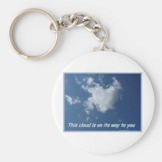 Nube formada corazón llavero redondo tipo pin