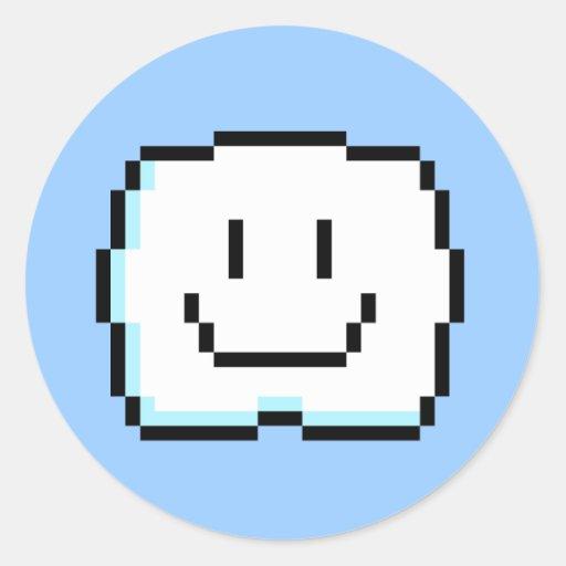 Nube linda del pixel etiqueta redonda