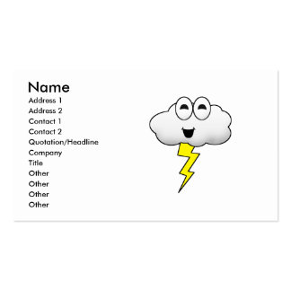 Nube linda del relámpago del dibujo animado tarjetas de visita