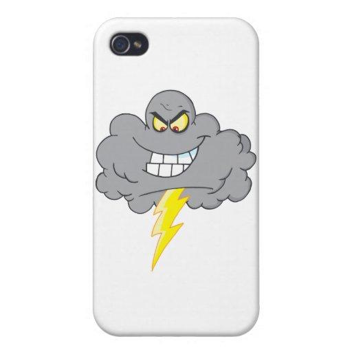 Nube negra del dibujo animado con el relámpago iPhone 4 coberturas