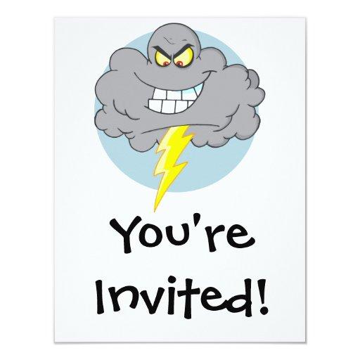 """Nube negra del dibujo animado enojado con el invitación 4.25"""" x 5.5"""""""