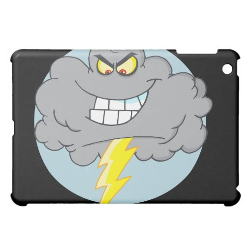 Nube negra del dibujo animado enojado con el relám