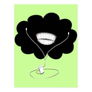 Nube negra sonriente feliz w/Earbuds Tarjeta Postal