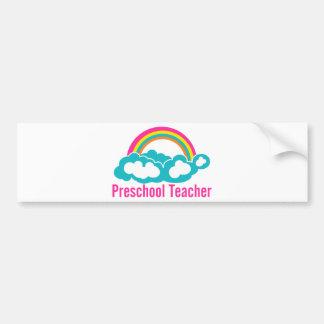 Nube preescolar del arco iris del profesor etiqueta de parachoque