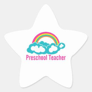 Nube preescolar del arco iris del profesor pegatina en forma de estrella
