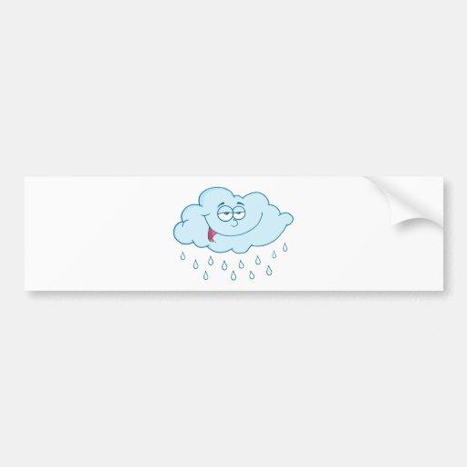 Nube que llueve el personaje de dibujos animados d etiqueta de parachoque