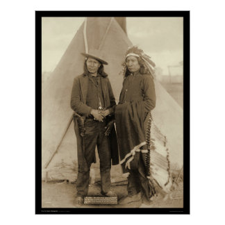 Nube roja y caballo americano SD 1891 de los jefes Póster