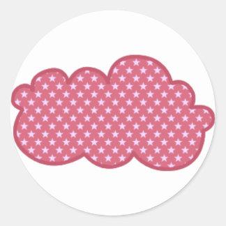 nube rosada pegatina redonda