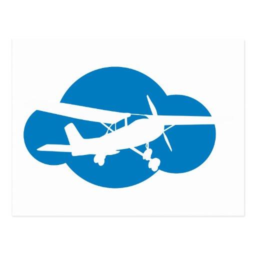 Nube y avión azules de la aviación postal