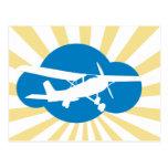 Nube y avión azules de la aviación tarjetas postales