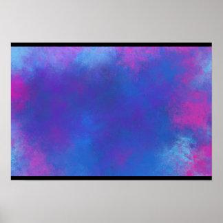 Nubes abstractas en púrpura y azul rosados póster