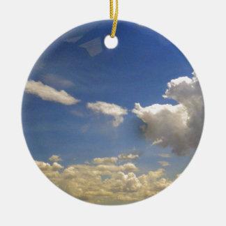 Nubes Adorno Navideño Redondo De Cerámica