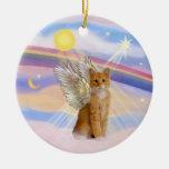 Nubes - ángel anaranjado del gato de tigre del Tab Ornaments Para Arbol De Navidad