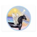 Nubes - ángel árabe negro del caballo postal