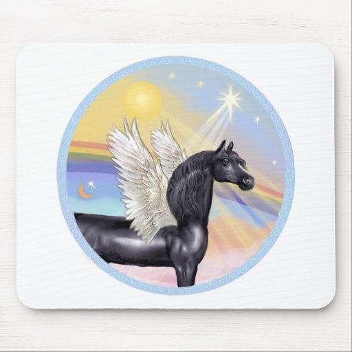 Nubes - ángel árabe negro del caballo alfombrillas de ratón