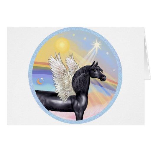Nubes - ángel árabe negro del caballo tarjeta de felicitación