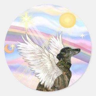 Nubes - ángel Brindle del galgo Pegatina Redonda