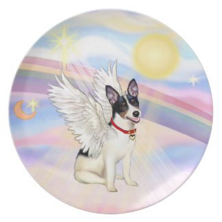 Nubes - ángel de Terrier de rata Plato De Cena