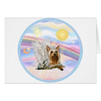 Nubes - ángel de Terrier sedoso (que se acuesta) Tarjeta De Felicitación