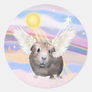 Nubes - ángel del conejillo de Indias (#2) Etiquetas Redondas