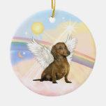 Nubes - ángel del Dachshund (marrón) Ornamento Para Reyes Magos
