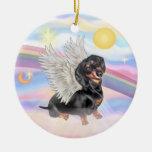 Nubes - ángel del Dachshund (negro/moreno) Adorno De Navidad